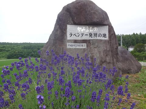 上富良野町東中にあるラベンダー発祥の地碑(2017年7月5日)